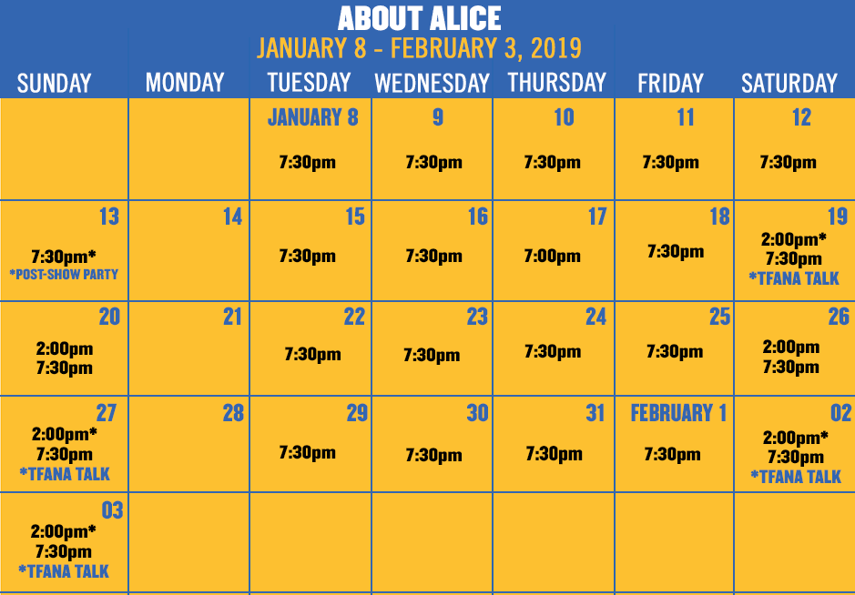 Click here to view performance calendar for ABOUT ALICE and buy tickets!