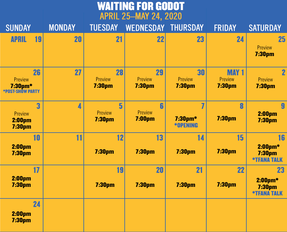 WAITING FOR GODOT runs April 25–May 17, 2020. Subscriber booking now open. Tickets on sale in March.